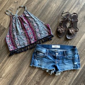 HOLLISTER Low-Rise Distressed Cutoff Jean Shorts 5